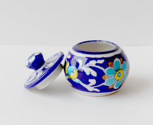 Blue Pottery Floral Design Small Pickle Jar