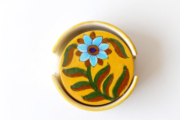 Blue Pottery Floral Designer Tea Coasters