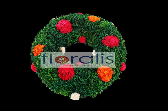 Corn Grass with Sola Flower Wreath 32Cms