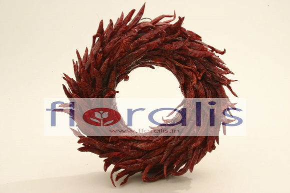 Dried Chilli Wreath 32Cms