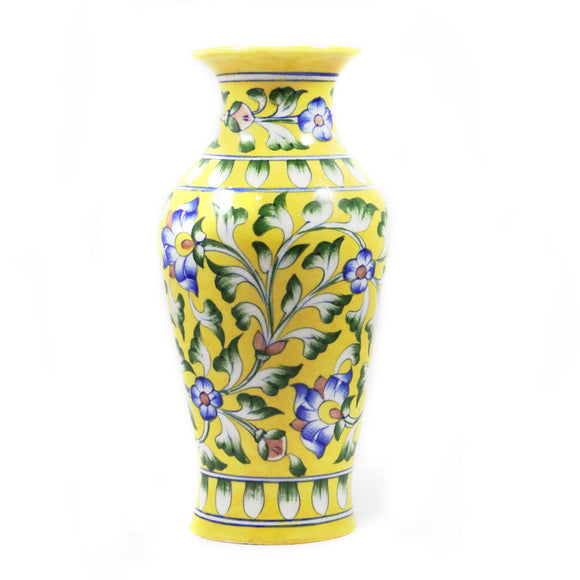 Blue Pottery Floral Design Pot 20x10 Yellow