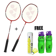 BADMINTON RACKET COMBO-2 Yonex Arcsaber Light 15i Red Strung Badminton Rackets+2 Nivia Oslar Sippers+Pack of 6 Yonex Mavis 10 Green Cap Shuttlecock