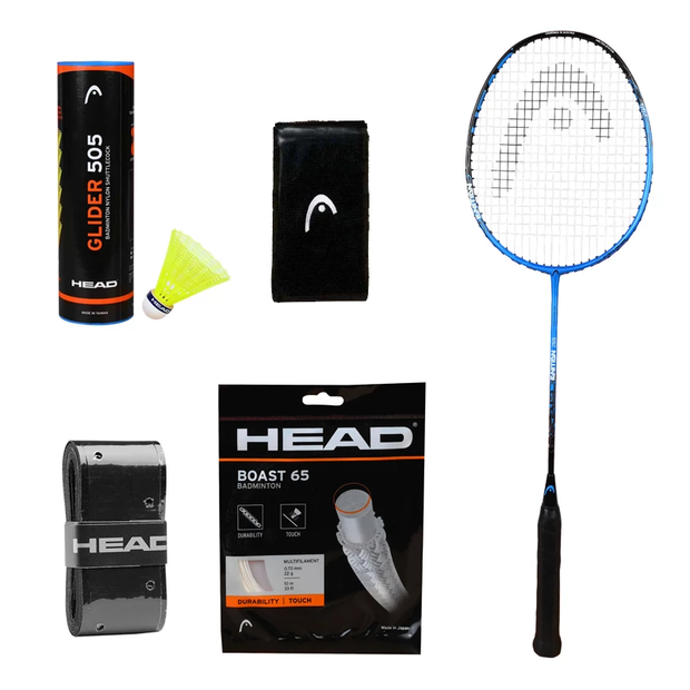 HEAD Ignition 200 HM Badminton Racquet+Glider Pack of 6 Cocks+Badminton String+Grip+Headband+Wristband