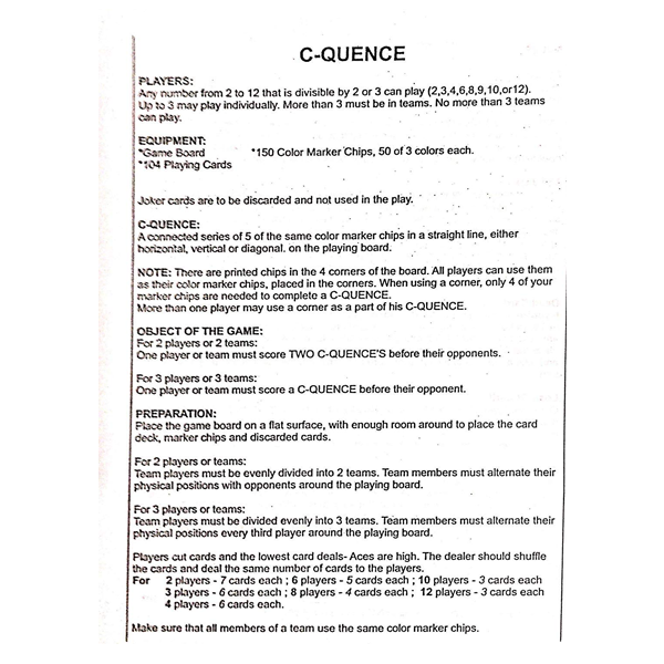 C-QUENCE Exciting Sequence Cards Board Game