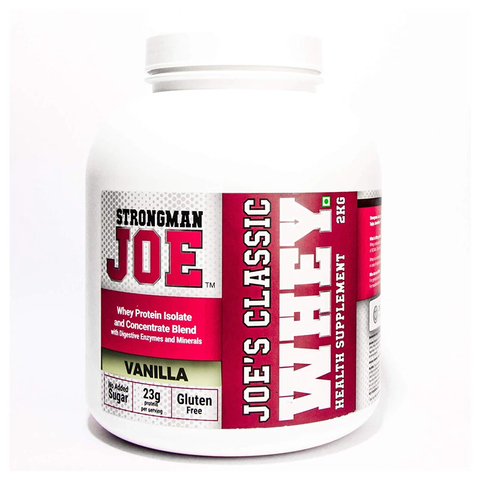 STRONGMAN JOE'S Classic Whey Protein Supplement 2Kg - Vanilla