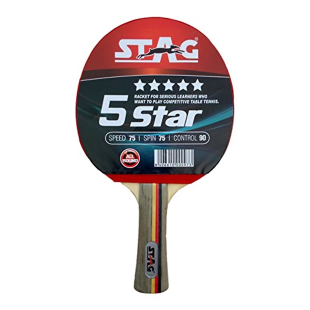Stag 5 Star Black, Red Table Tennis Racquet