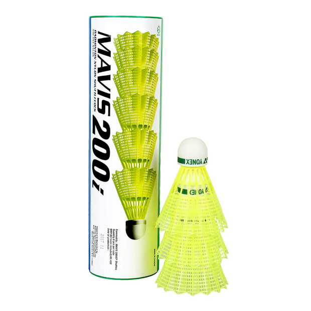 Yonex Mavis 200i Green Cap Nylon Shuttlecock - Pack Of 6