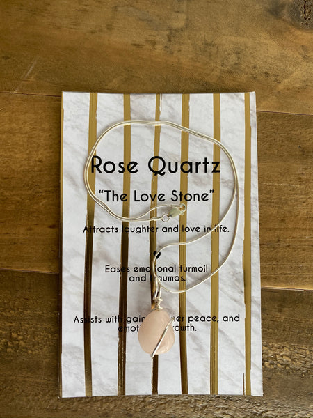 Rose Quartz Healing Stone Necklace