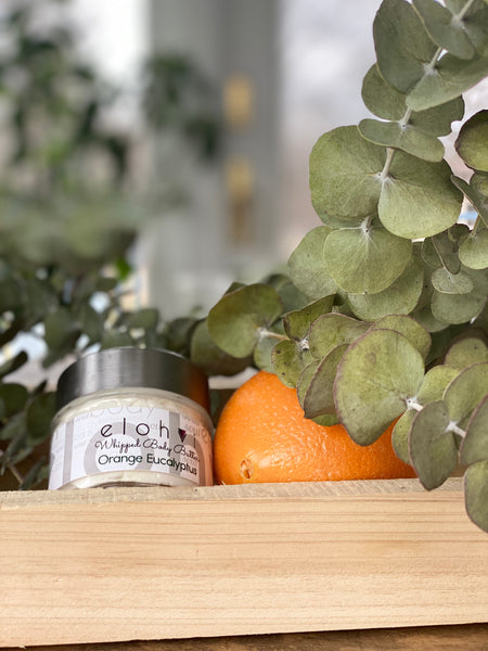orange eucalyptus whipped body butter
