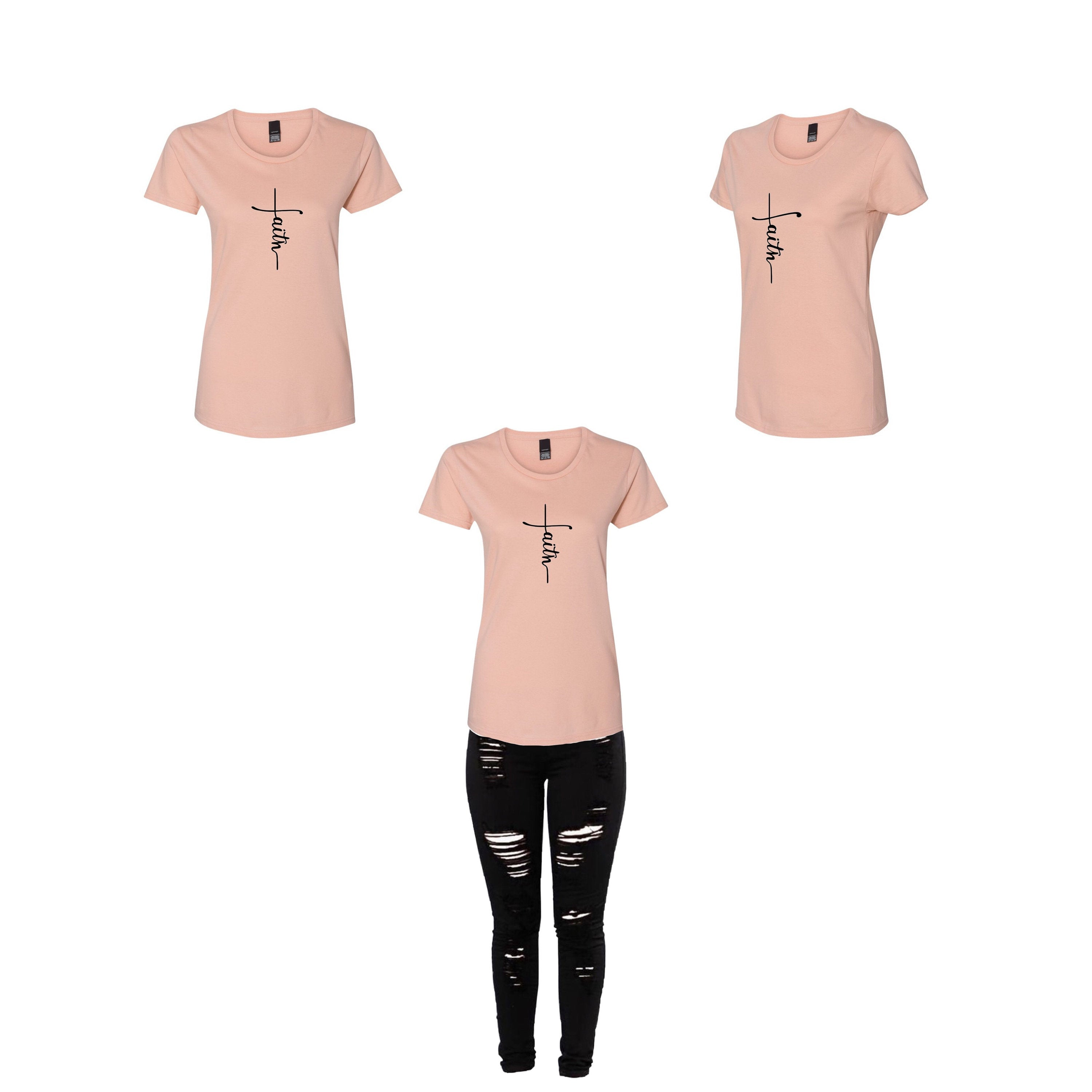 Dusty Rose Faith/Cross Tee