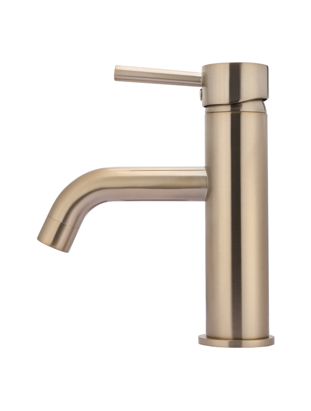 Meir Round Basin Mixer Curved - Champagne (SKU: MB03-CH) Image - 3