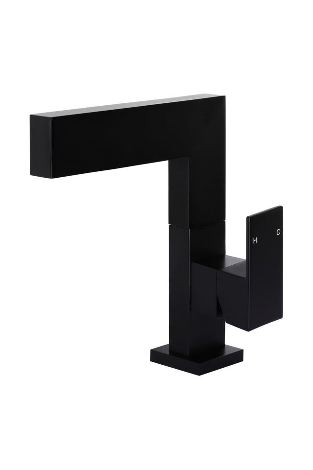 Meir Square Basin Mixer Swivel - Matte Black (SKU: MB07) Image - 1