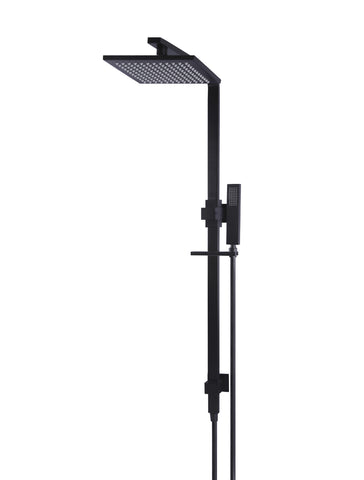 Square Combination Shower Rail 200mm Shower Rose - Matte Black