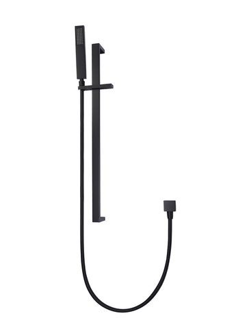 Square Shower on Rail Column - Matte Black