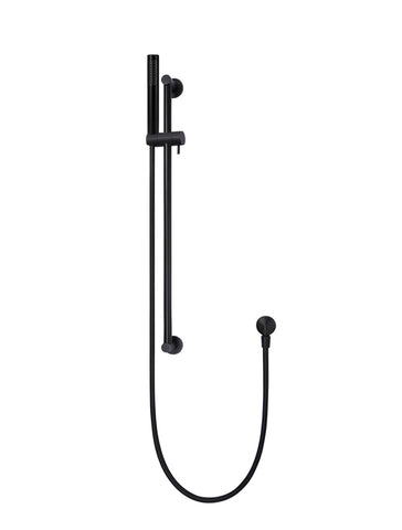 Round Shower on Rail Column - Matte Black