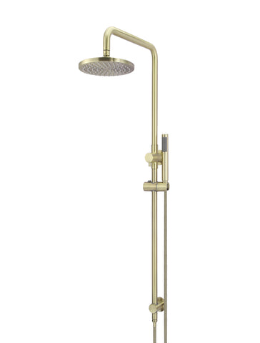 Round Combination Shower Rail, 200mm Rose, Single Function Hand Shower - Tiger Bronze Gold
