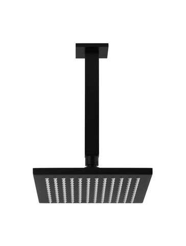 Square Ceiling Shower 200mm rose, 200mm dropper - Matte Black