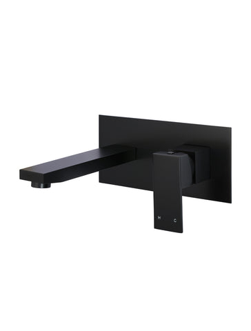 Square Wall Combination Mixer and Spout - Matte Black