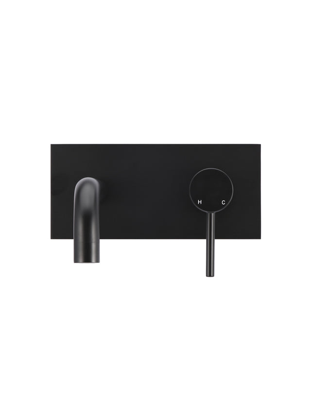 Meir Round Wall Combination Mixer and Curved Spout - Matte Black (SKU: MBC05) Image - 2