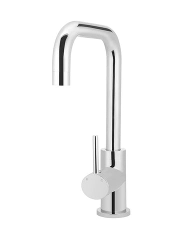 Round Kitchen Mixer Tap Curved - Polished Chrome