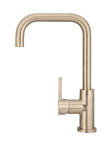 Round Kitchen Mixer Tap Curved - Champagne