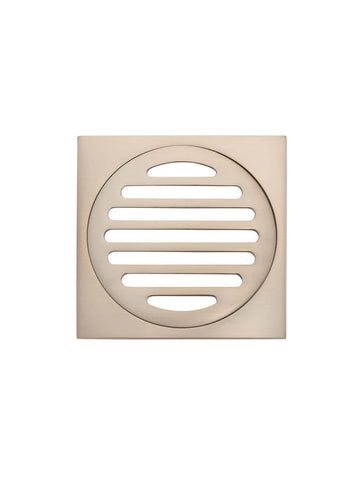 Square Floor Grate Shower Drain 100mm outlet - Champagne