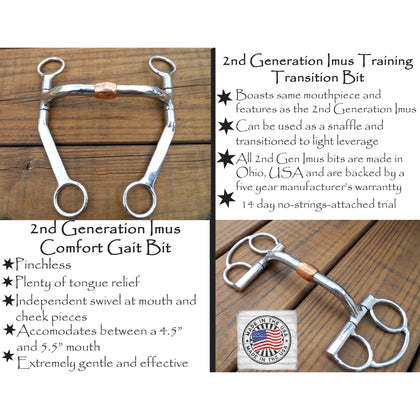 2nd Generation Imus Pinchless Bits-Phoenix Rising Saddles Gaited Horse Tack
