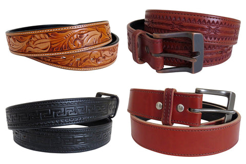 stamped tooled leather belts for men and women