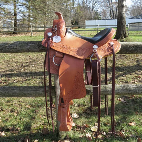 Imus 4-Beat Gaited Saddle with Custom Acorn Leaf Tooling-Phoenix Rising Saddles Gaited Horse Tack