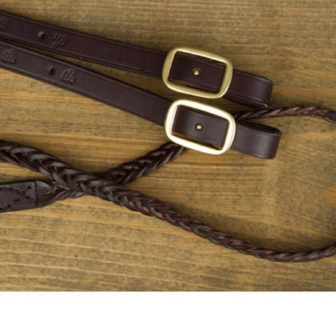 Braided Leather Amish Made Loop Reins-Phoenix Rising Saddles Gaited Horse Tack