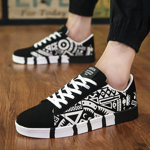 Men Casual Canvas Shoes Fashion Print Sneakers