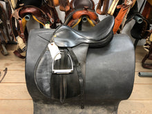 "Load image into Gallery viewer, 17"" Collegiate English Saddle with Stirrups"
