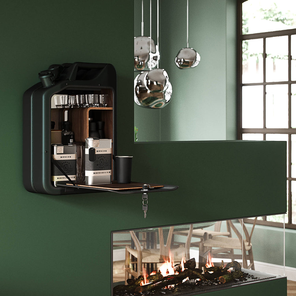 Jerrycan Bar Cabinet - Racing Green on the wall