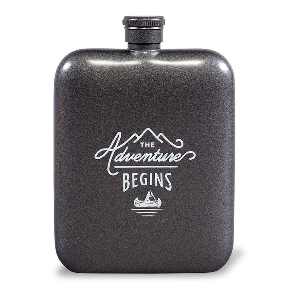Hip flask with rounded edges in grey metallic colour
