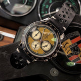 Voiture Chronograph watch by Nezumi in a classic sports car