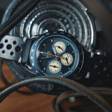 Voiture Chronograph watch by Nezumi Studios is powered by a mechanical-quartz movement made by Seiko