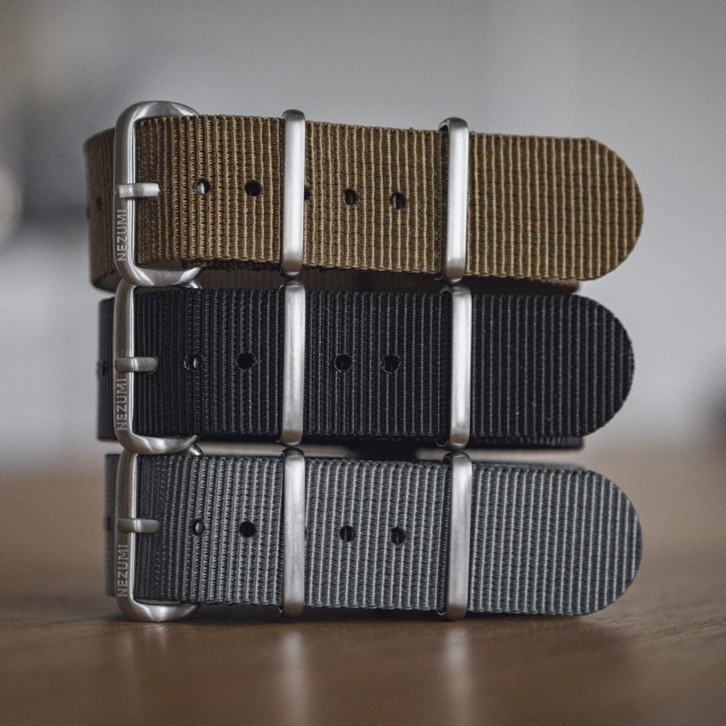 Corbeau watch can be ordered with different nato straps by Nezumi Studios