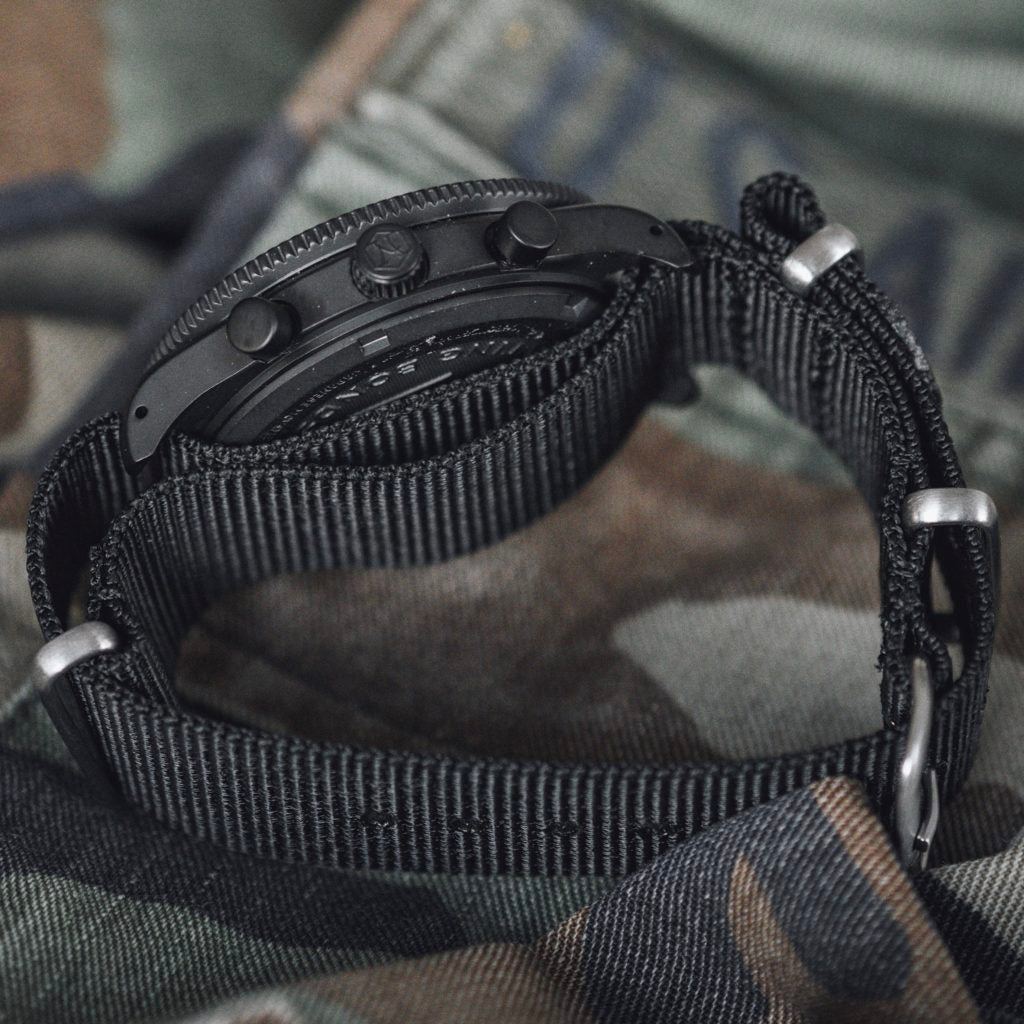 Corbeau watch with black nato strap by Nezumi Studios