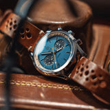 Nezumi Loews Chronograph watch with brown leather strap