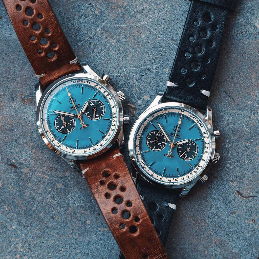 Two Nezumi Loews Chronograph watches with black and brown leather straps