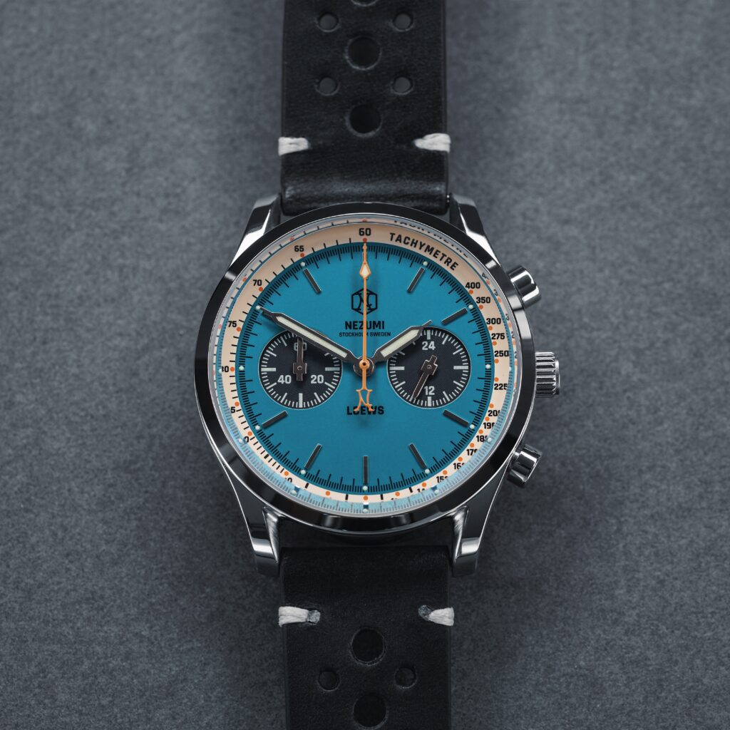 Nezumi Loews Chronograph watch with black leather strap