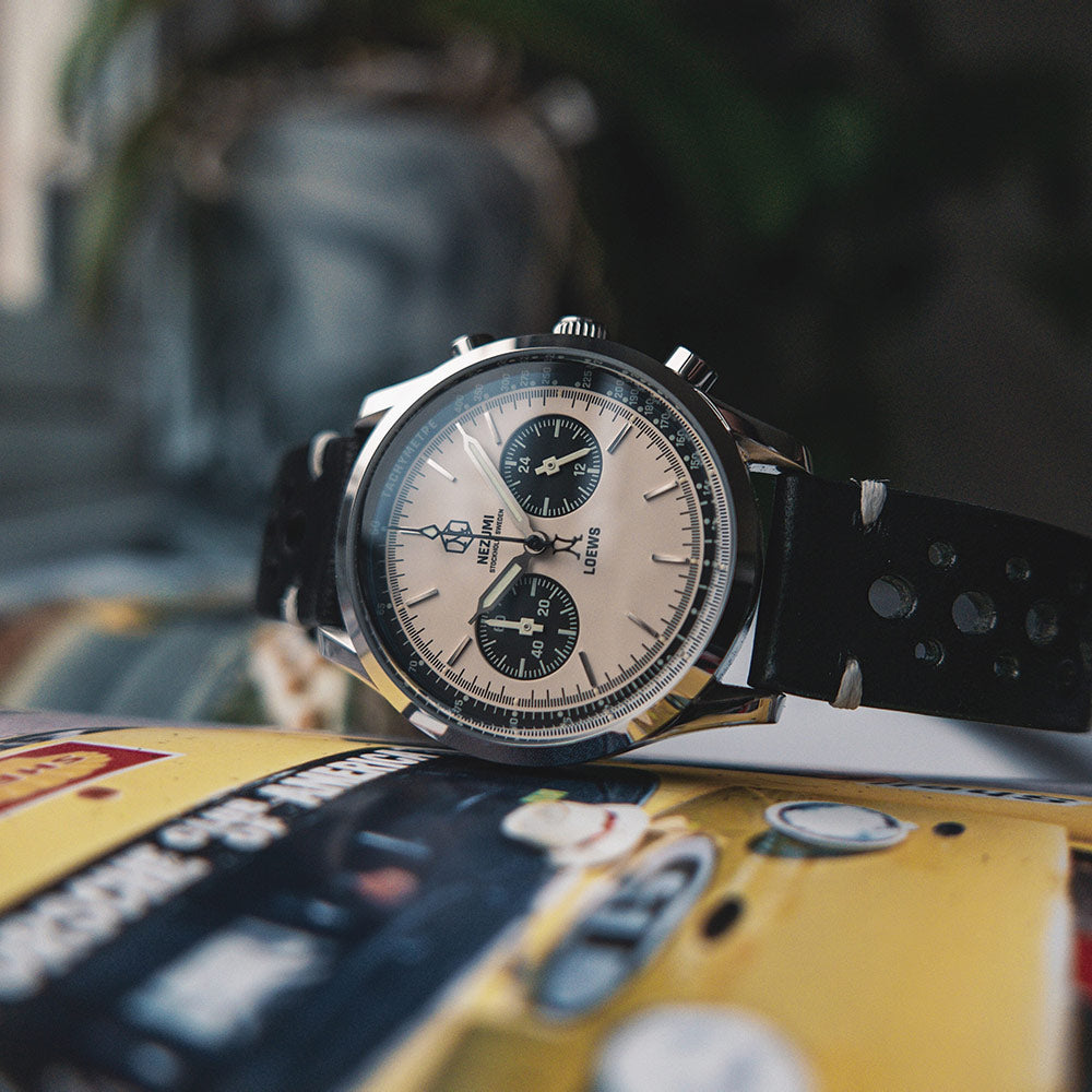 Nezumi Studios Loews Chronograph with black leather strap