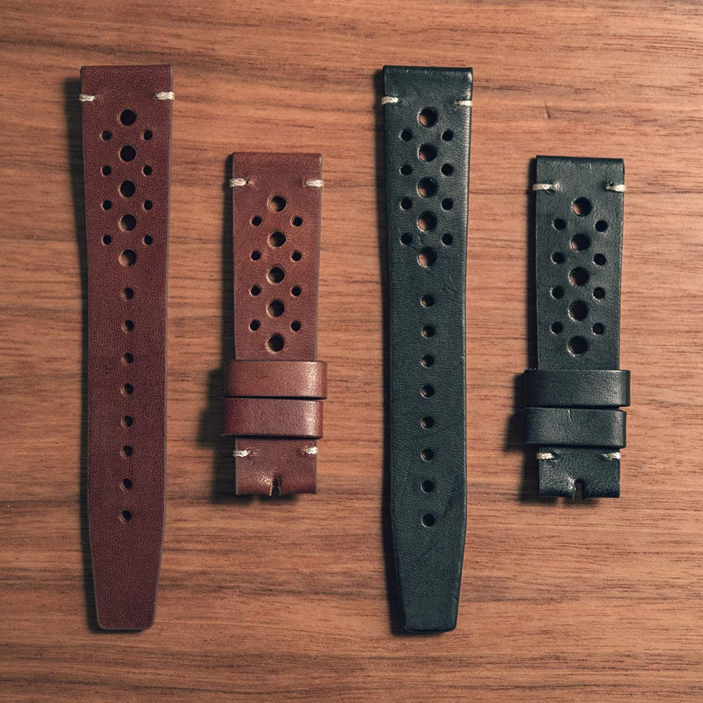Nezumi Loews Chronograph watch straps in black leather or brown leather