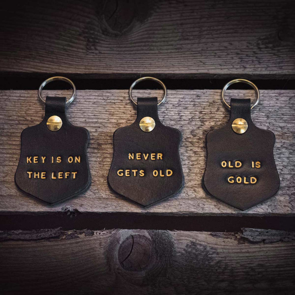 Leather Key Fobs with embossed gold text