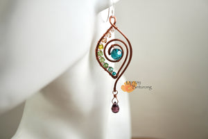 DIY Wire Wrap Earrings Peacock Feather Kit Featuring Swarovski Crystals