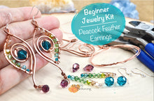 Load image into Gallery viewer, DIY Wire Wrap Earrings Peacock Feather Kit Featuring Swarovski Crystals