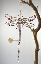 Load image into Gallery viewer, Dragonfly Suncatcher Wire Wrapped with Gemstones and Swarovski Crystals