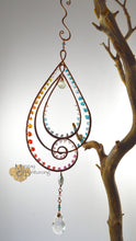 Load image into Gallery viewer, Paisley-esque Suncatcher made with gemstones and Swarovski Crystal is wire art waiting to be hung in your home