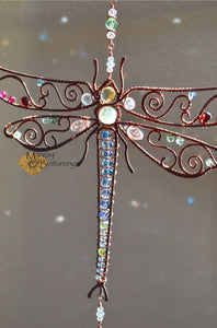 Dragonfly Suncatcher Wire Wrapped with Gemstones and Swarovski Crystals