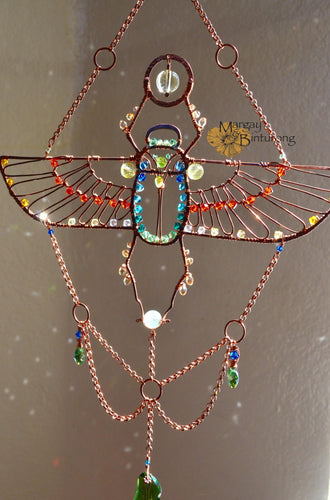 Egyptian Scarab Beetle Suncatcher with London Blue Topaz, Peridot, Prehnite, and Swarovski Crystals